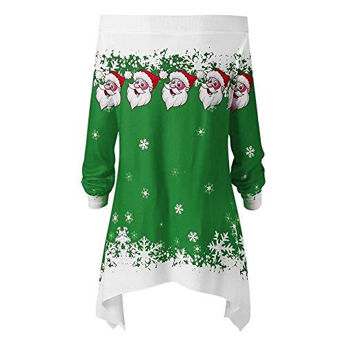 URSING Weihnachten Damen Frohe Weihnachten Santa Snowflake Drucken Tops Kapuzenpullover Sweatshirt Pullover Bluse T-Shirt Off Shoulder...