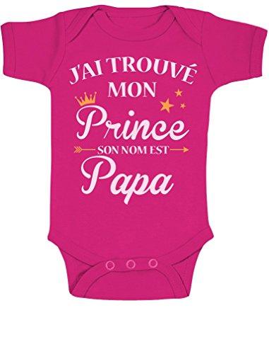 J'Ai trouvé Mon Prince C'est Papa Cadeau pour Papa Bodysuit Manche Courte Body Bébé Manche Courte 6-12 Mois Fuchsia