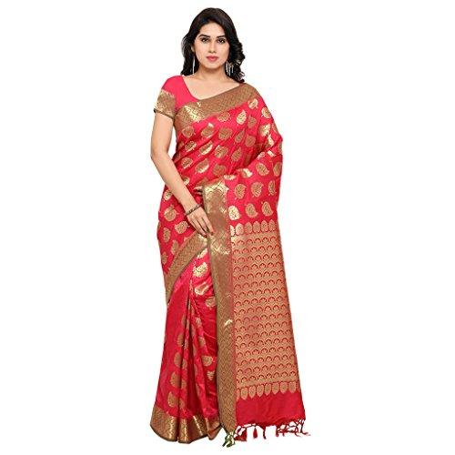 Varkala Silk Sarees Women\'s Art Silk Kanchiuram Saree With Blouse Piece(AWSS3111RNRD_Pink_Free Size)