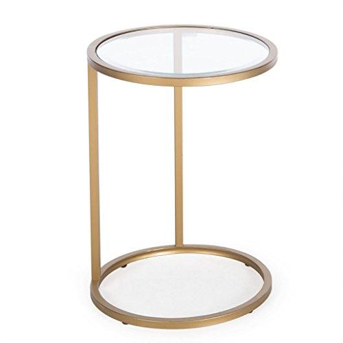 Eisen-glas Beistelltisch (Hongsezhuozi Tische Tee Tisch Couchtisch Eisen Glas Kleine Runde Tisch Einfache Moderne Sofa Beistelltisch Computer Schreibtisch Faul Bett Tabelle Portable Freizeit Tisch)