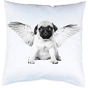 Kissenhülle mit Druck Mops Hund mit Flügeln Kissenbezug mit Motiv 40x40 cm beidseitig bedruckt mit oder ohne Füllung