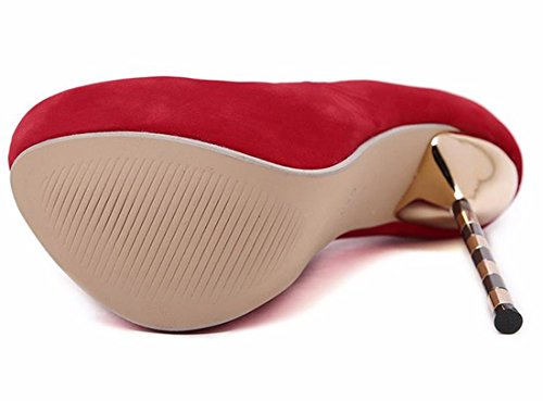 QIYUN.Z Les Femmes Faux Suede Stiletto Talon Metallique Mode Etanche Chaussures De Soiree Sexy Rouge