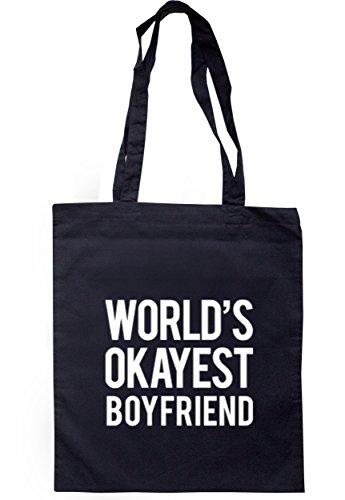 breadandbutterthreads mondo Okayest Boyfriend Borsa 37,5cm x 42cm con manici lunghi Navy