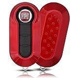 ASARAH ABS Schlüsselhülle für FIAT mit Edler Lackierung, Schutzhülle für Autoschlüssel Cover für Schlüssel-Typ FT 3BKB - Rot