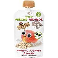 """Freche Freunde Bio Quetschie """"Mango, Joghurt & Hafer"""", ohne Zuckerzusatz, Babybrei mit Joghurt & Hafer, Fruchtmus für Babys ab 1 Jahr, 6er Pack (6 x 100 g)"""