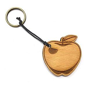 Schlüsselanhänger Apfel aus Holz optional mit individueller persönlicher Gravur !