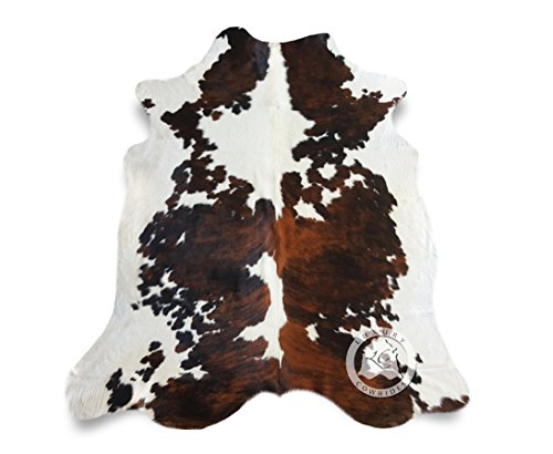 Teppich aus Kuhfell, Farbe: Tricolor, Größe circa 150 x 180 cm, Premium - Qualität von Pieles del Sol aus Spanien