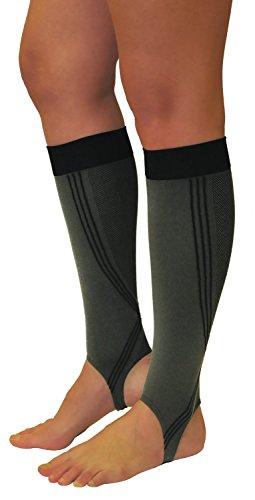 Tonus Elast 1 Paar Grau/Schwarz Wadenbandage, Kompression Stulpen mit Steg, Calf Sleeves, Sport Strümpfe, Waden Kompressionsstrümpfe (S (Körpergröße 158-170 cm))