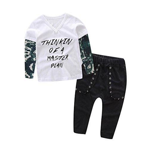 Baby Kleider Set, HARRYSTORE Neugeborene Kleinkind Letter Printed Stitching Lange Ärmel T-Shirt Hosen Outfits (6M, Weiß) Baby Going Home Outfit