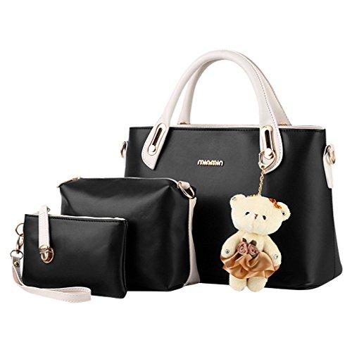 MissFox Elegante Da Donna Cerniera Design Handbag Shoulder Bag Tote Bag 3 Pezzi Nero