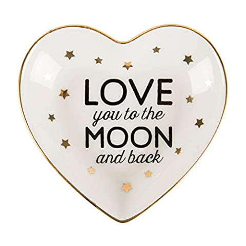 LOVE YOU TO THE MOON & BACK HEART SHAPED TRINKET DISH/BOWL - Sass and Belle