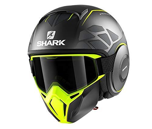 Shark Casco Jet Drak Street Hurok negro antracita amarillo AYK talla M