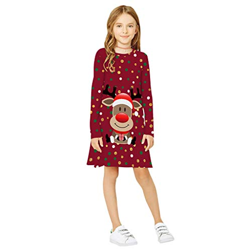 Alwayswin Teen Kinder Mädchen Langarm Weihnachten Kleid 3D Print Cartoon Xmas Kleid Kleidung Casual Mode T-Shirt Kleid O-Ausschnitt Lose Party Prinzessin Kleid Lange Hülsen Tuniken