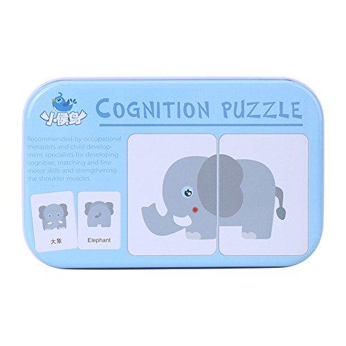 32Stück Flash Card Puzzle kognitives lernen Frühe Bildung Karte lernen Spielzeug Fahrzeug/Tier/Fruit/LIVING Waren lernen Training Karten Baby Lernspielzeug mit Eisen Box Animals (Tier Schützende)