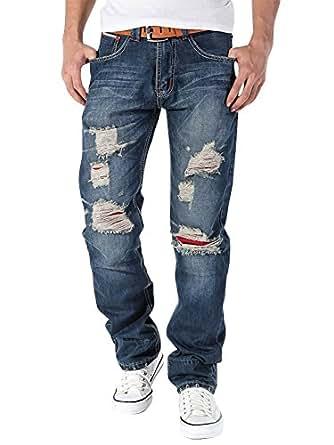Herren Slim Fit Straight Leg Jeans Destroyed Zerrissen Verwaschen Hose Denim blau 28
