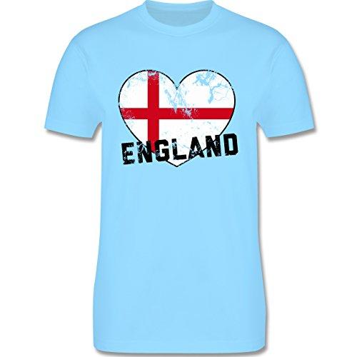 EM 2016 - Frankreich - England Herz Vintage - Herren Premium T-Shirt Hellblau
