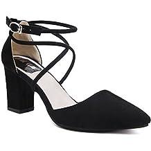 donna tacco spesso Cinturino alla caviglia con lacci sandali con punta aperta
