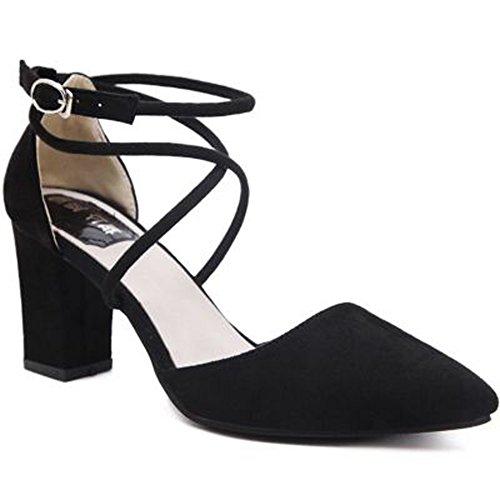 Minetom Donne Elegante Scarpe A Punta Scarpe Cross Cinturini Alla Caviglia Nubuck Sandali Con Tacco Grosso Nero 39