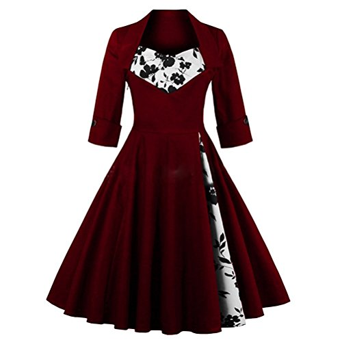 Ghope Robe Vintage années 1950 's Style Audrey Hepburn Rockabilly Swing 3/4 manches Robe Rétro Sexy Robe de soirée cocktaile Col V Vin Rouge