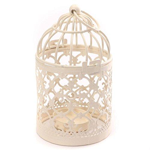 Worsendy Kerzenhalter vintage metall Deko Vogelvoliere Vogelbauer Kerzenhalter Laterne aus Eisen Landhausstil hochzeit tischdekoration Kerzenstaender 8 x 14cm Weiß