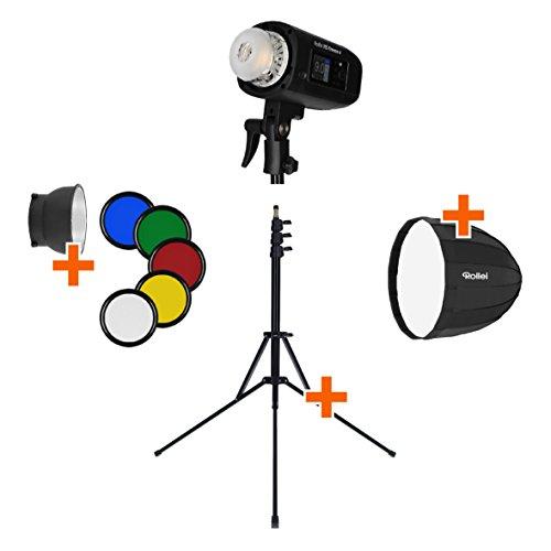 Rollei HS Freeze 4 Single Kit - Professionelles Studioblitz Set mit Akkublitz, Reflektor, Softbox (Parabolbox) und Lampenstativ - ideal für Outdoor Shootings und ein perfekter Start in die Studio Fotografie, mit Bowens Anschluss