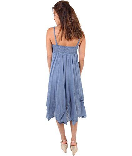 Leichtes Sommer Häkelkleid 6918 (Small,Jeansblau) -