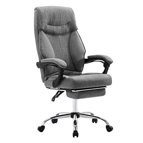 EUGAD 0006BGY Bürostuhl Chefsessel Schreibtischstuhl Drehstuhl Computerstuhl mit Fußstütze, mit Wippfunktion, Höhenverstellbar, Stoffbezug, Dunkelgrau