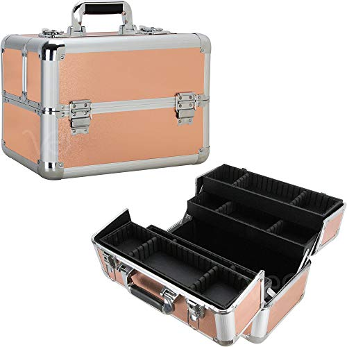 Ver Beauty DVP007-25 Professional Art Craft Cosmetic Makeup Train Case Portable Travel Organizer Tool Box Storage with 4 Extendable Trays Adjustable Dividers and Keylocks, Rose Gold -