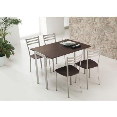 Sediarreda Set 2Stühle-Metall Satiniert-Sitzfläche Buche Laminat getönt Wenge - Wenge Laminat