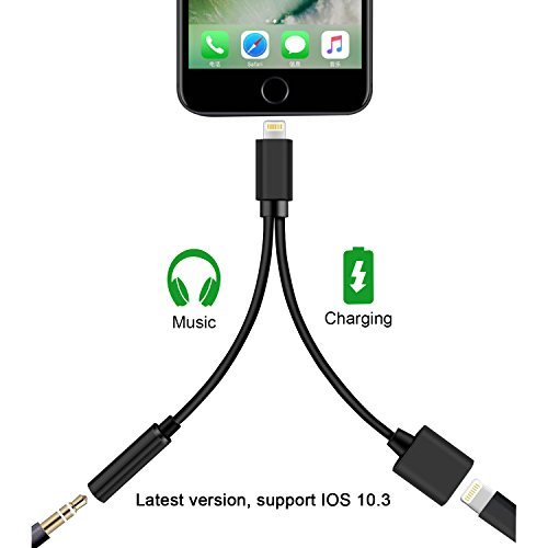 Foto de Dreamerd - Adaptador Lightning a conector de auriculares y puerto de carga para iPhone 7/7 Plus (función 2 en 1, compatible con iOS 10.3)