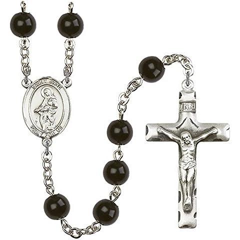 Rosario in argento, con 7 mm, colore: nero Onyx beads. del crocifisso: 1 3/4