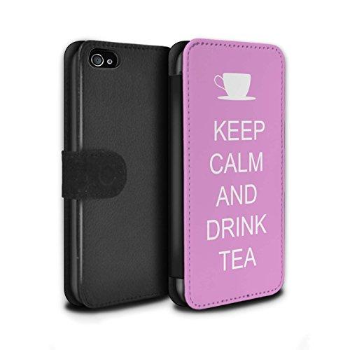 Stuff4 Coque/Etui/Housse Cuir PU Case/Cover pour Apple iPhone 4/4S / Faire du Shopping/Bleu Design / Reste Calme Collection Boire du Thé/Rose