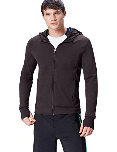 FIND Hoodie Herren mit Reißverschluss und Handeinsätzen, Schwarz (Black), 52 (Herstellergröße: Large) (Performance Sweatshirt Hoodie)