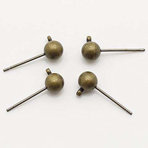 TheTasteJewelry 5mm Ohrstecker Kugel Ball Stift 11mm Antik Messing 200