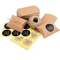 100 pcs Bolsas de Caramelos Kraft Vintage Marrón+ 60M Cuerda+100 Adhesivo Pegatinas para Galletas