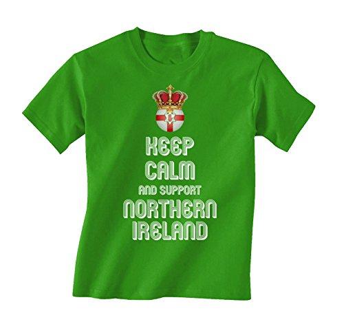 Kinder T-Shirt Keep Calm & Support Northern Ireland Childrens Football Euro 2016