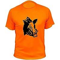 AtooDog Camiseta de Caza, Verraco, Jabalí, Regalos para Cazadores (183, Naranja, XXL)