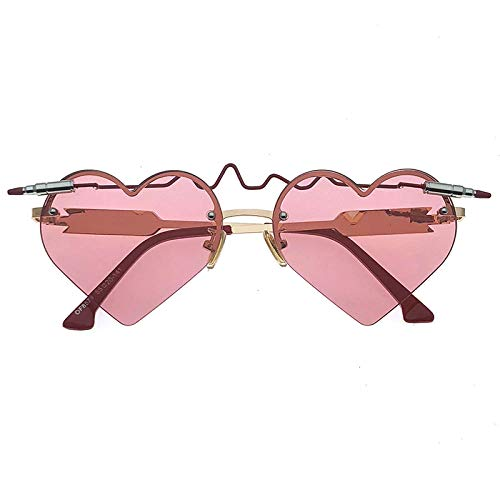 fuqiuwei Sonnenbrillen Einfache Sonnenbrille Herzschlag Liebe Rote Herzförmige Sonnenbrille Hipster Brille Weiblich