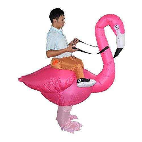 Deanyi Flamingo Form aufblasbares Kostüm Kreative Halloween Weihnachten Cosplay Karneval Partei-Leistungs-Kleidung für Erwachsene ohne Batterie 190cm