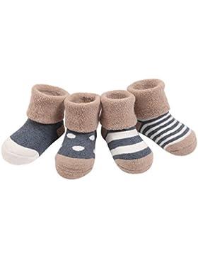 FEOYA- 0-36 Monate Babysocken Dick Warm Babysöckchen Herbst Winter Kindersocken Rutschfest 4 Paar Socken Set mit...