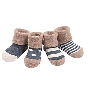 FEOYA (Pack de 4 pares) Calcetines para Bebés niños Infantiles Rayados Gruesos de Algodón con puntos 0-6 meses 6-12… 3
