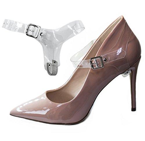 Correas ShooStraps Desmontables para Zapatos, Tacones Altos, Zapatos Planos, Zapatos de cuña (Transparente)