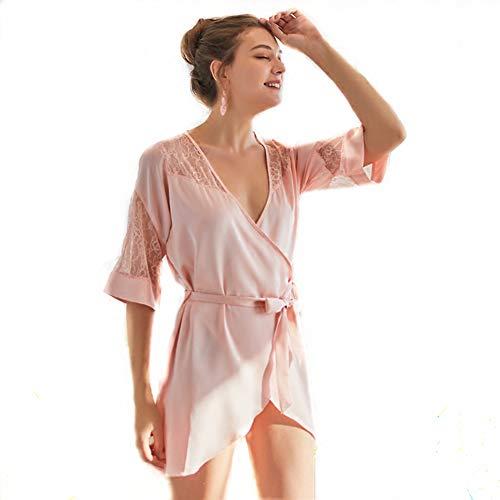 Lace-seide-cardigan (Erotische UnterwäSche Erotische Kleidung Enges Kleid Short Sleeve Hollow Cardigan Sexy Seide Lace Home,Pink,L)