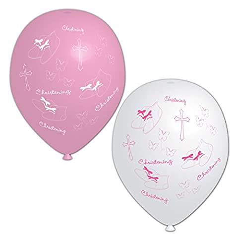 Amscan 28 cm Christening All Over Print 6 Latex Balloons,