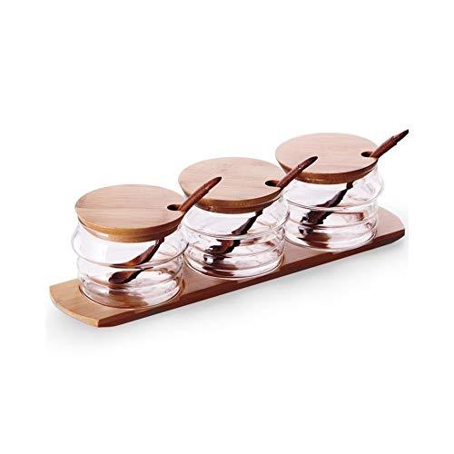 NFASHIONSO Gewürzbox aus Glas, mit Deckel und Löffeln auf Bambus-Tablett, 3 Stück -