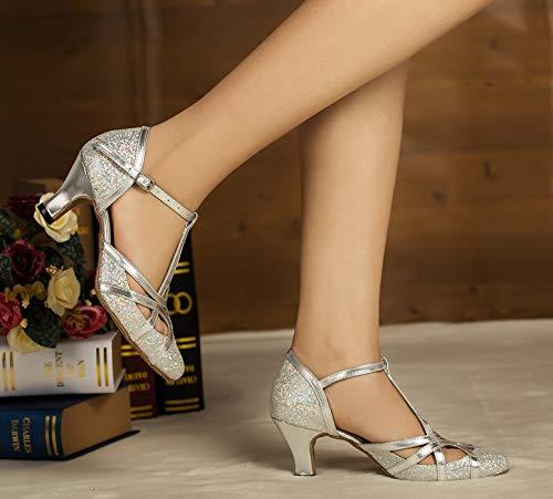 Minitoo , Damen Tanzschuhe, Silber – silber – Größe: 41.5 - 6