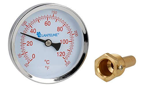 Lantelme 120 °C Grad Thermometer Heizung Messing GewindeTauchhülse Zeigerthermometer Skala rot Analog Bimetall 5926