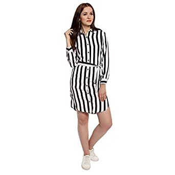 Lady Strak Women's Western Shirt Collar Long Sleeve White Dress