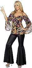 Smiffys Costume da Hippy, donna con parte superiore disegnata e pantaloni svasati,XXL - EU Dimensione 52-54