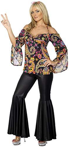 Smiffys Hippie Kostüm Damen mit gemustertem Oberteil und Schlaghose, XXL (52 - 54 EU), Schwarz (Große 70's Kostüm Ideen)